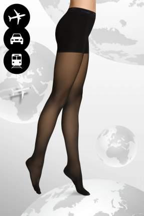 Schwarze Reisestrumpfhose mit Kompression für frische Beine auf langen Flügen